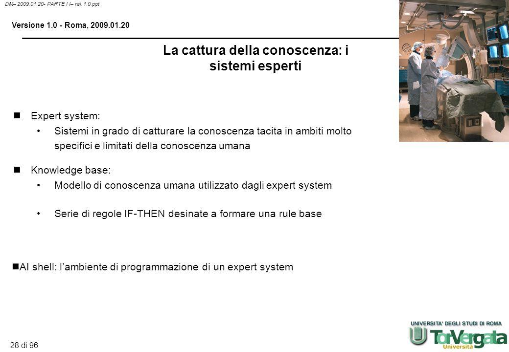 27 di 96 DM– 2009.01.20- PARTE I I– rel. 1.0.ppt Versione 1.0 - Roma, 2009.01.20 La gestione intelligente della conoscenza Identificazione dei modelli
