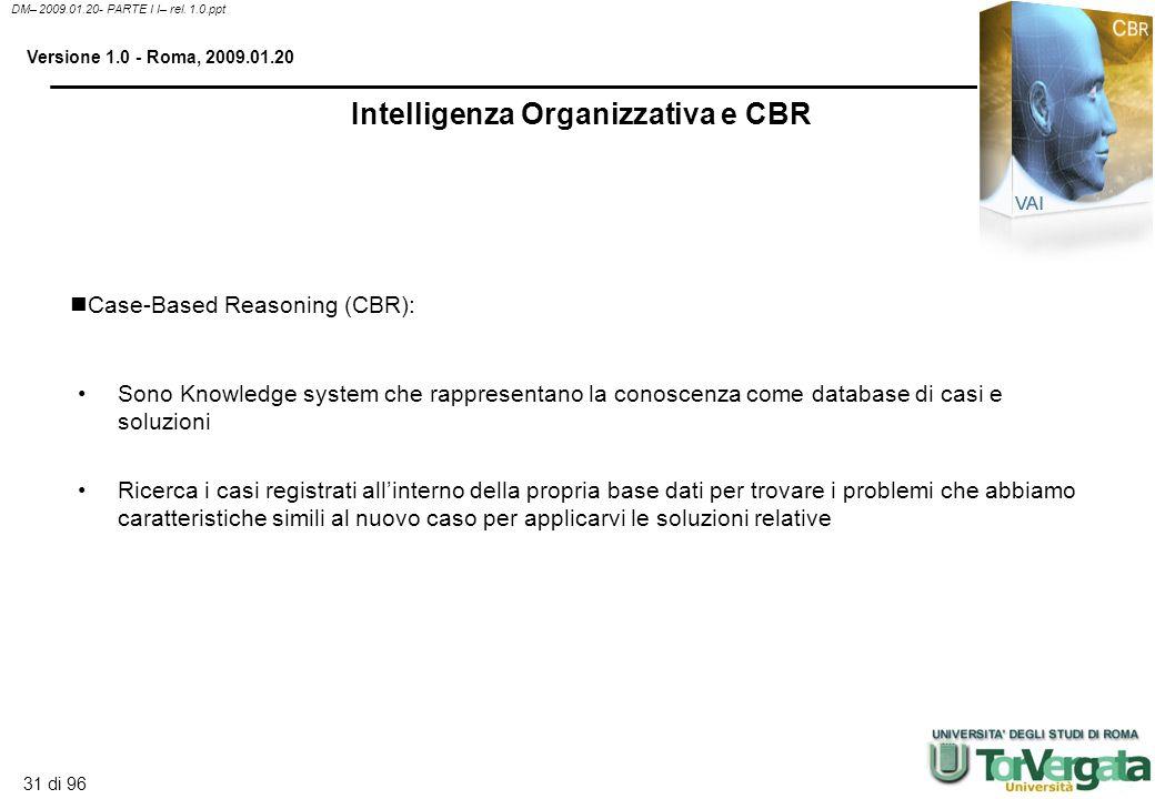 30 di 96 DM– 2009.01.20- PARTE I I– rel. 1.0.ppt Versione 1.0 - Roma, 2009.01.20 Inference engine: sistema con strategie di ricerca attraverso la rule