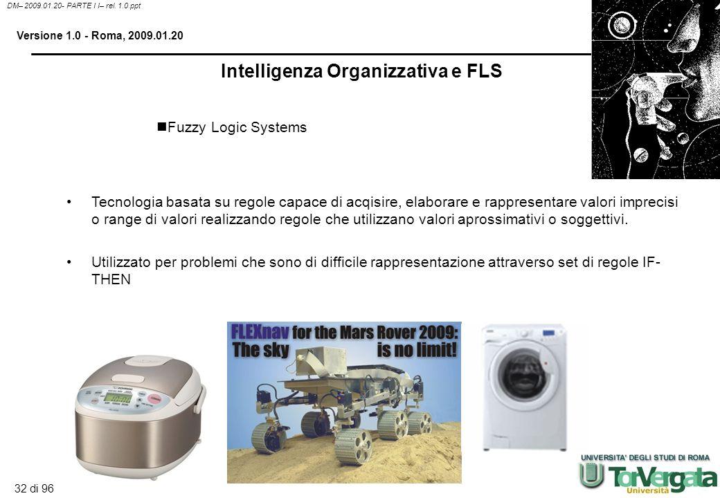 31 di 96 DM– 2009.01.20- PARTE I I– rel. 1.0.ppt Versione 1.0 - Roma, 2009.01.20 Sono Knowledge system che rappresentano la conoscenza come database d