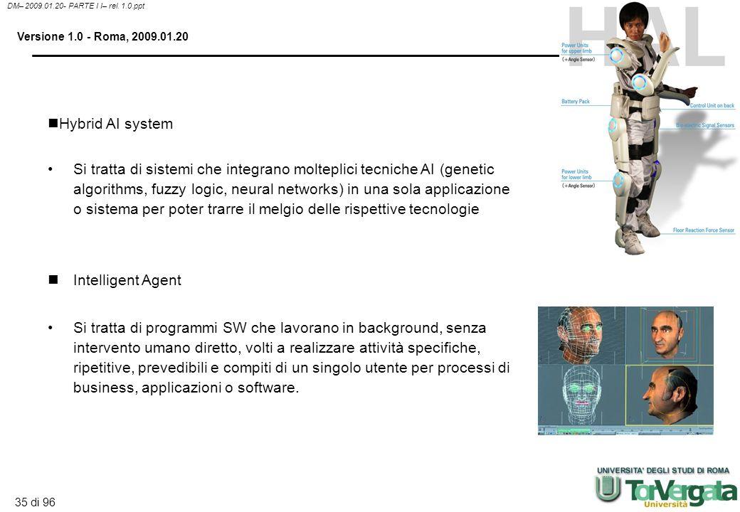 34 di 96 DM– 2009.01.20- PARTE I I– rel. 1.0.ppt Versione 1.0 - Roma, 2009.01.20 Si tratta di algoritmi adattativi, capaci di esaminare un gran numero