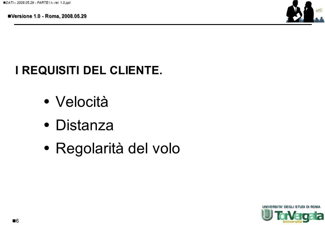 5 DATI – 2008.05.29 - PARTE I I– rel. 1.0.ppt DATI – 2008.05.29 - PARTE I I– rel. 1.0.ppt Versione 1.0 - Roma, 2008.05.29 Versione 1.0 - Roma, 2008.05