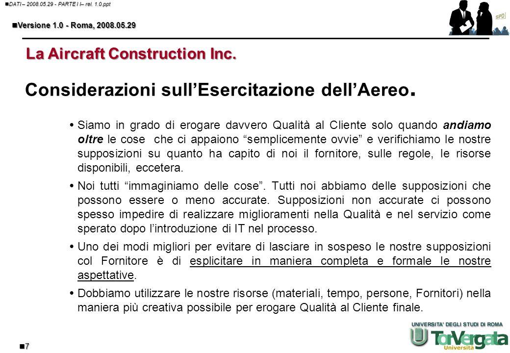 6 DATI – 2008.05.29 - PARTE I I– rel. 1.0.ppt DATI – 2008.05.29 - PARTE I I– rel. 1.0.ppt Versione 1.0 - Roma, 2008.05.29 Versione 1.0 - Roma, 2008.05