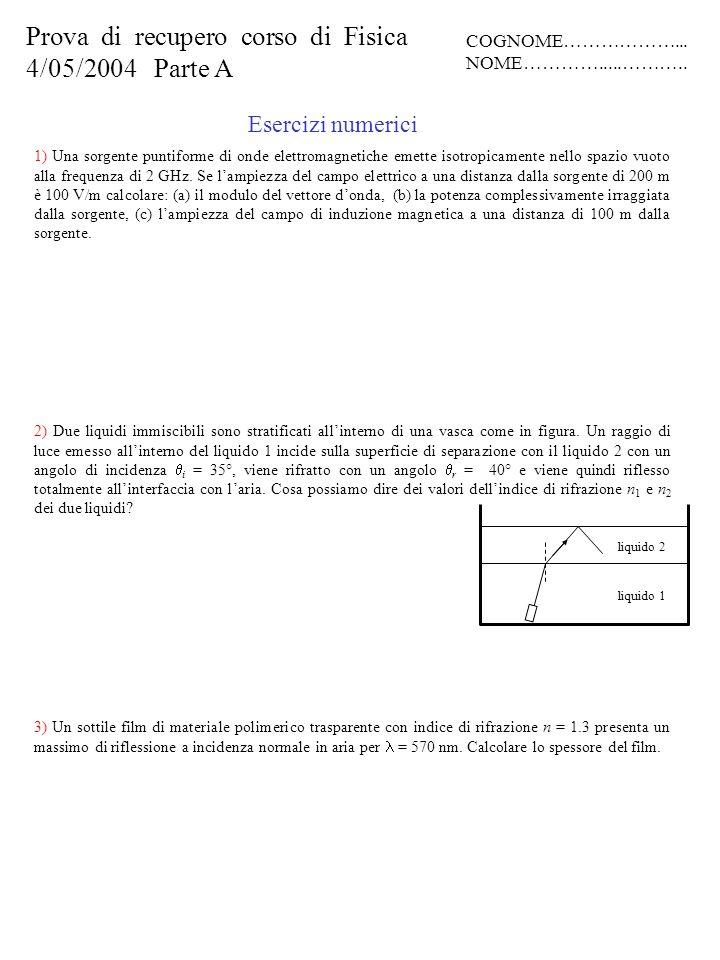 Quesiti A) Scrivere in forma vettoriale lespressione di unonda elettromagnetica piana polarizzata linearmente lungo una direzione a 45° con lasse z, che si propaga lungo lasse y, con unampiezza del campo elettrico E 0, in un mezzo con costante dielettrica.