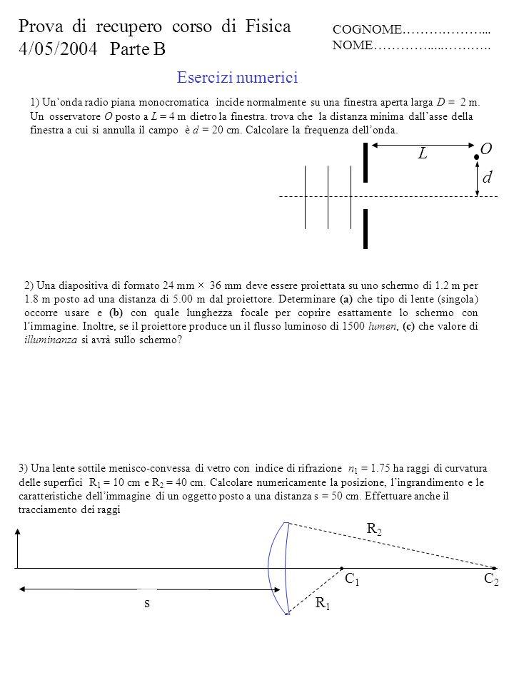 Esercizi numerici 2) Una diapositiva di formato 24 mm 36 mm deve essere proiettata su uno schermo di 1.2 m per 1.8 m posto ad una distanza di 5.00 m d