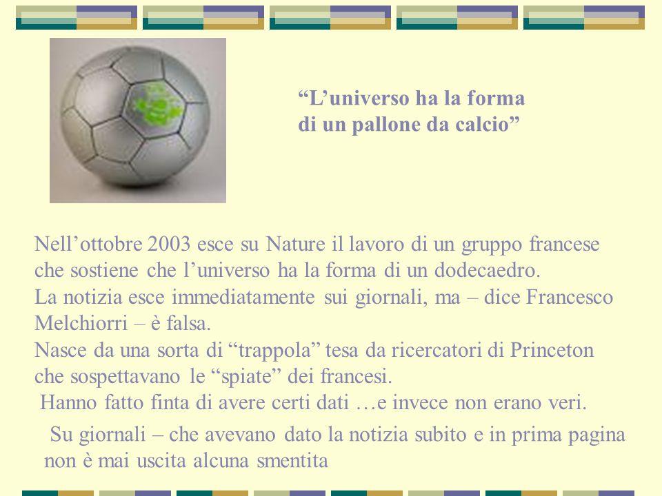 Nellottobre 2003 esce su Nature il lavoro di un gruppo francese che sostiene che luniverso ha la forma di un dodecaedro. La notizia esce immediatament