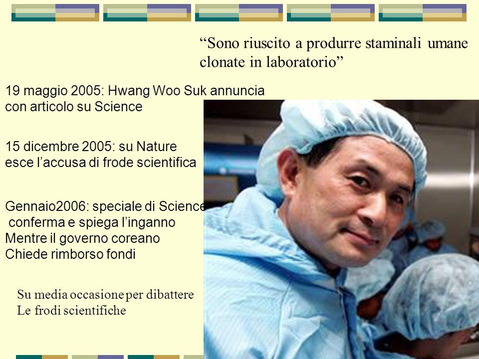 Sono riuscito a produrre staminali umane clonate in laboratorio 19 maggio 2005: Hwang Woo Suk annuncia con articolo su Science 15 dicembre 2005: su Na