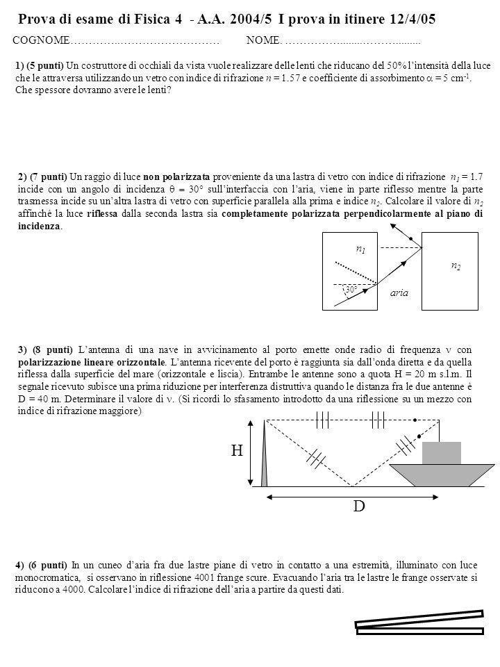 Prova di esame di Fisica 4 - A.A. 2004/5 I prova in itinere 12/4/05 COGNOME…………..……………………… NOME.