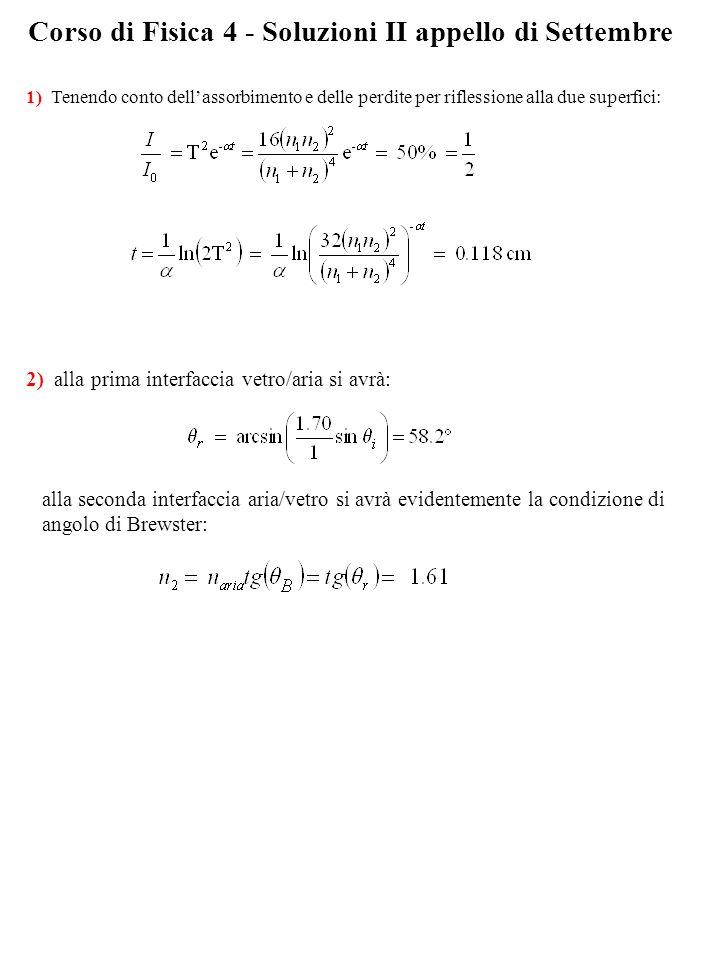 Corso di Fisica 4 - Soluzioni II appello di Settembre 1) Tenendo conto dellassorbimento e delle perdite per riflessione alla due superfici: 2) alla prima interfaccia vetro/aria si avrà: alla seconda interfaccia aria/vetro si avrà evidentemente la condizione di angolo di Brewster: