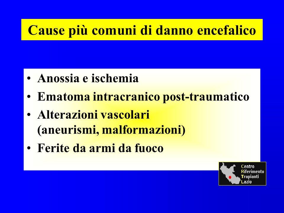 Cause più comuni di danno encefalico Anossia e ischemia Ematoma intracranico post-traumatico Alterazioni vascolari (aneurismi, malformazioni) Ferite da armi da fuoco