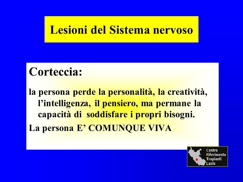 Lesioni del Sistema nervoso Corteccia: la persona perde la personalità, la creatività, lintelligenza, il pensiero, ma permane la capacità di soddisfare i propri bisogni.