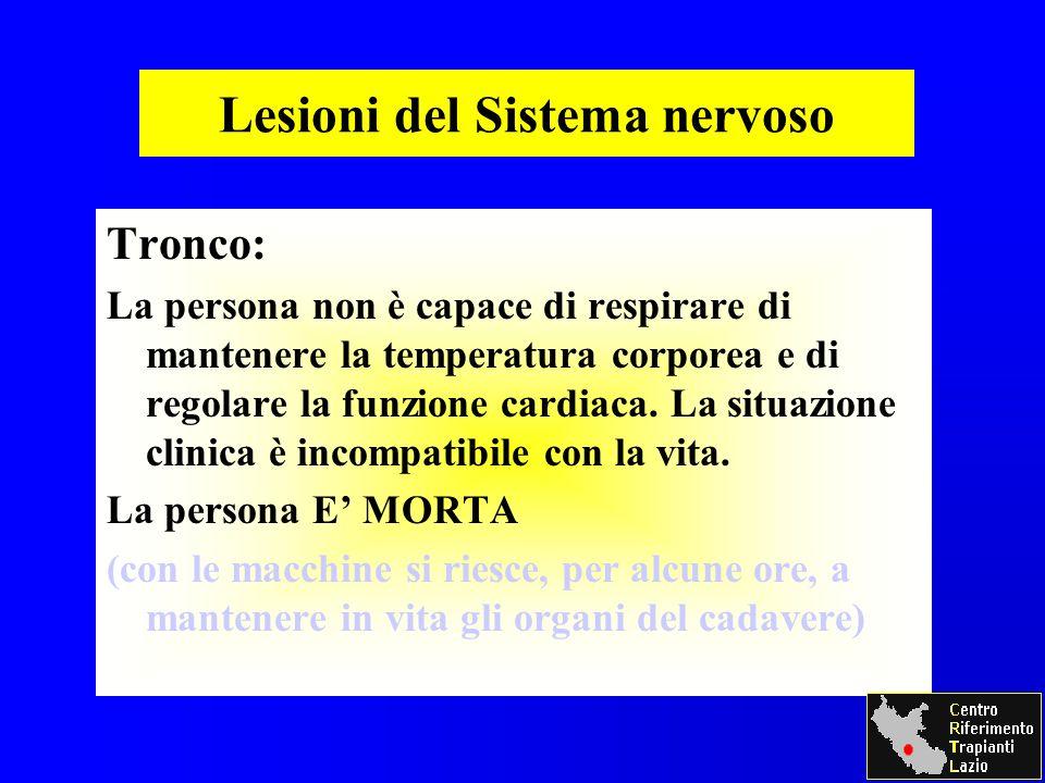 Lesioni del Sistema nervoso Tronco: La persona non è capace di respirare di mantenere la temperatura corporea e di regolare la funzione cardiaca.