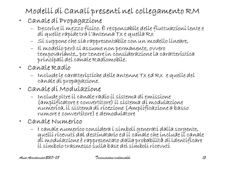 Anno Accademico 2007-08Trasmissioni radiomobili13 Modelli di Canali presenti nel collegamento RM Canale di Propagazione –Descrive il mezzo fisico. È r