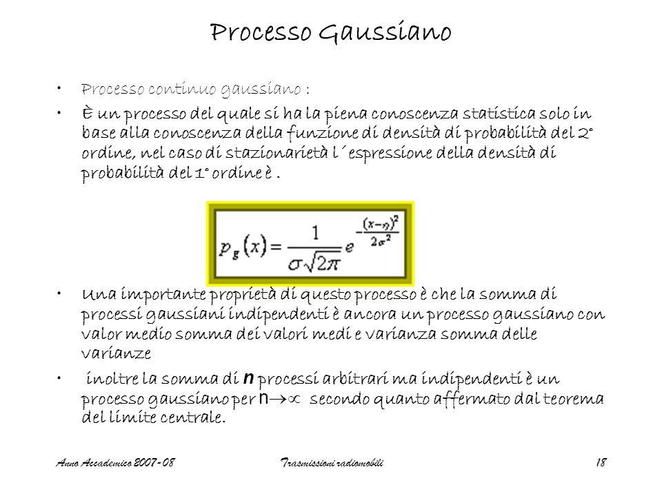 Anno Accademico 2007-08Trasmissioni radiomobili18 Processo Gaussiano Processo continuo gaussiano : È un processo del quale si ha la piena conoscenza s