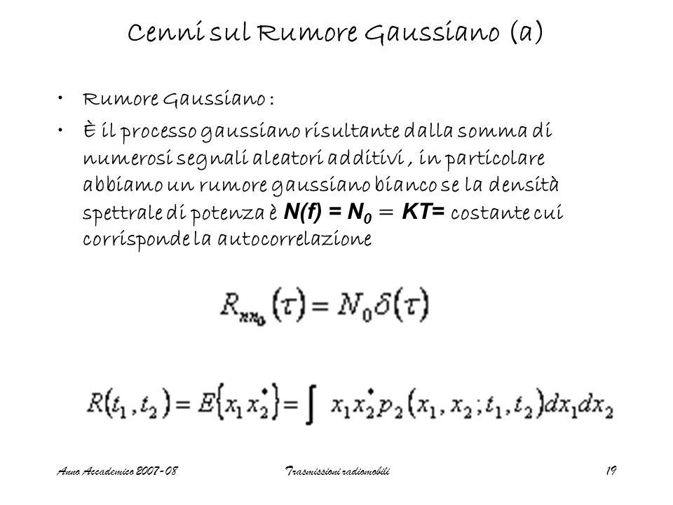 Anno Accademico 2007-08Trasmissioni radiomobili19 Cenni sul Rumore Gaussiano (a) Rumore Gaussiano : È il processo gaussiano risultante dalla somma di