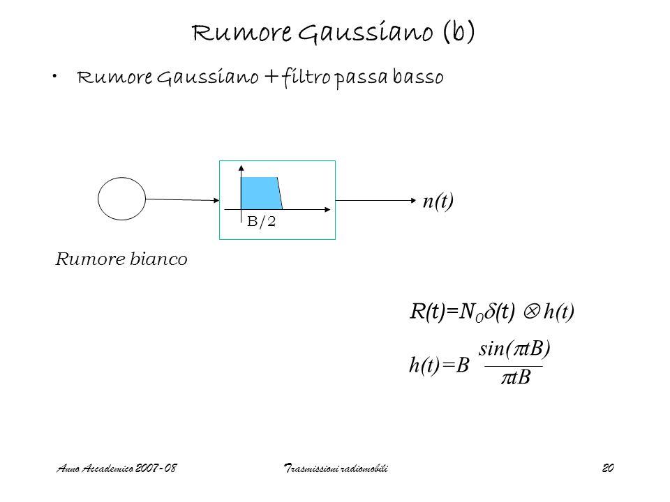 Anno Accademico 2007-08Trasmissioni radiomobili20 Rumore Gaussiano (b) Rumore Gaussiano +filtro passa basso Rumore bianco n(t) B/2 R(t)=N 0 (t) h(t) h