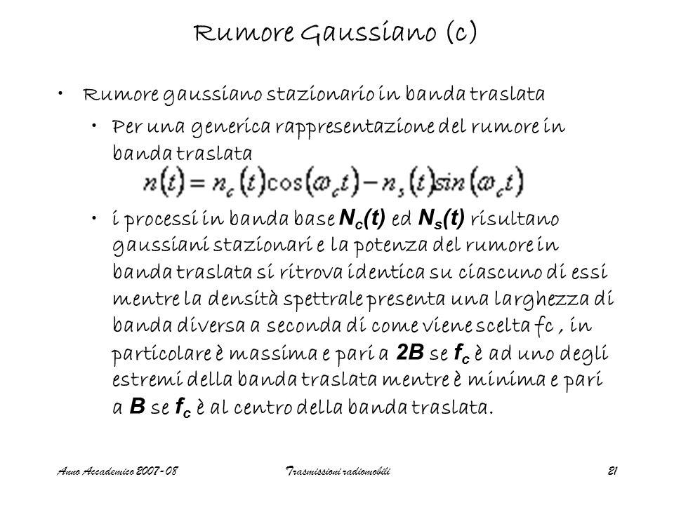 Anno Accademico 2007-08Trasmissioni radiomobili21 Rumore Gaussiano (c) Rumore gaussiano stazionario in banda traslata Per una generica rappresentazion