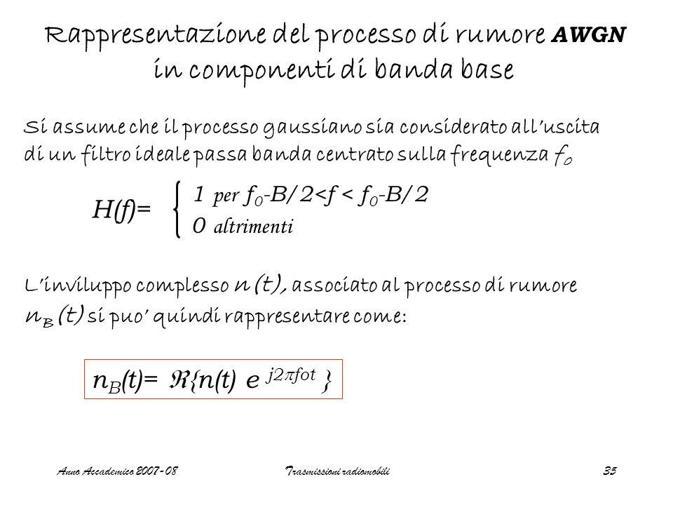 Anno Accademico 2007-08Trasmissioni radiomobili35 Rappresentazione del processo di rumore AWGN in componenti di banda base Si assume che il processo g