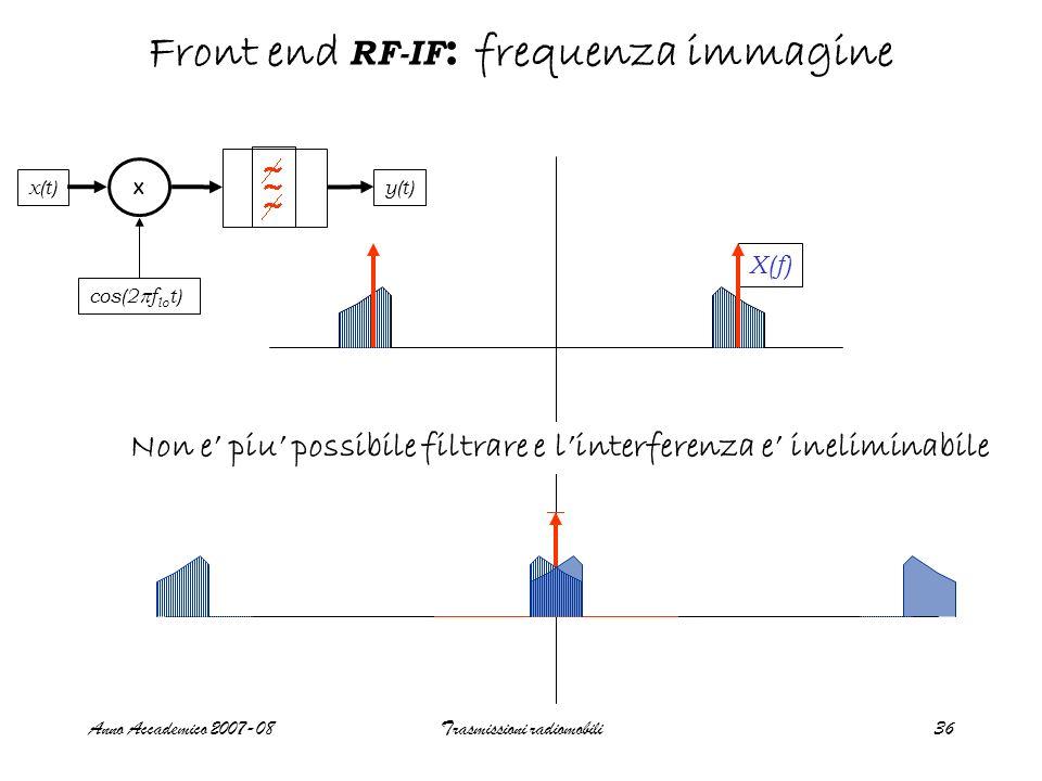Anno Accademico 2007-08Trasmissioni radiomobili36 Front end RF-IF : frequenza immagine + - Y(f) X x(t) cos(2 f lo t) y(t) X(f) + + - - Filtro immagine