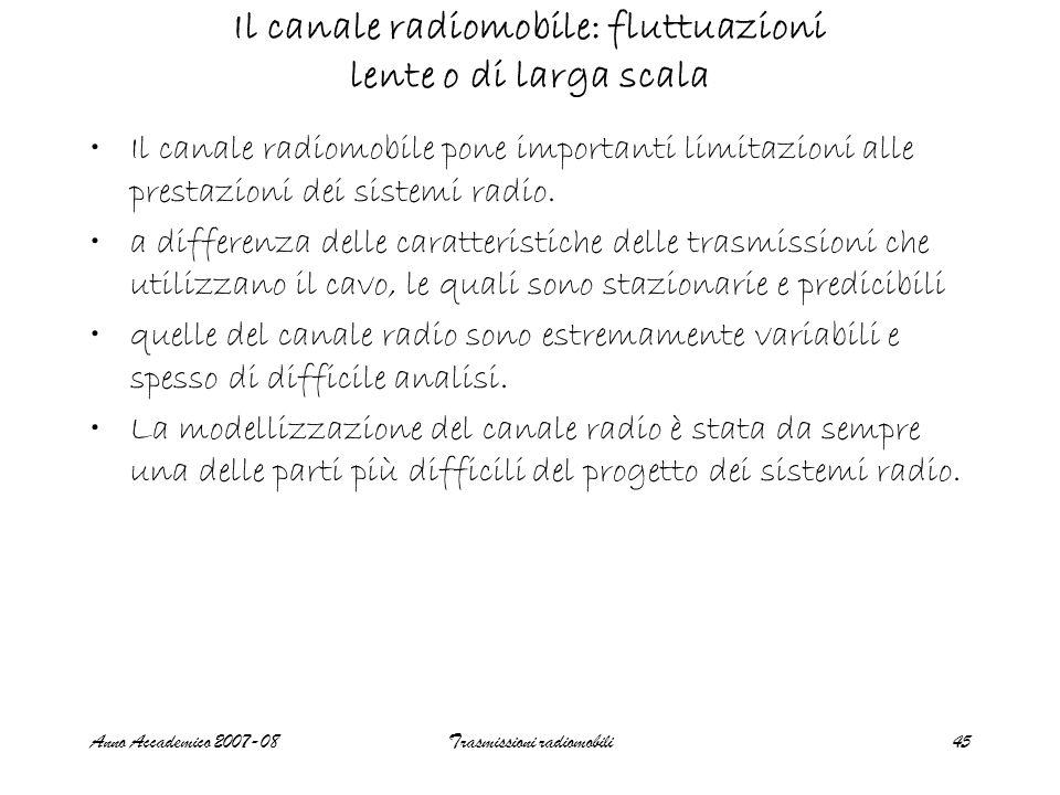 Anno Accademico 2007-08Trasmissioni radiomobili45 Il canale radiomobile: fluttuazioni lente o di larga scala Il canale radiomobile pone importanti lim