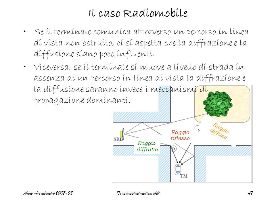 Anno Accademico 2007-08Trasmissioni radiomobili47 Il caso Radiomobile Se il terminale comunica attraverso un percorso in linea di vista non ostruito,