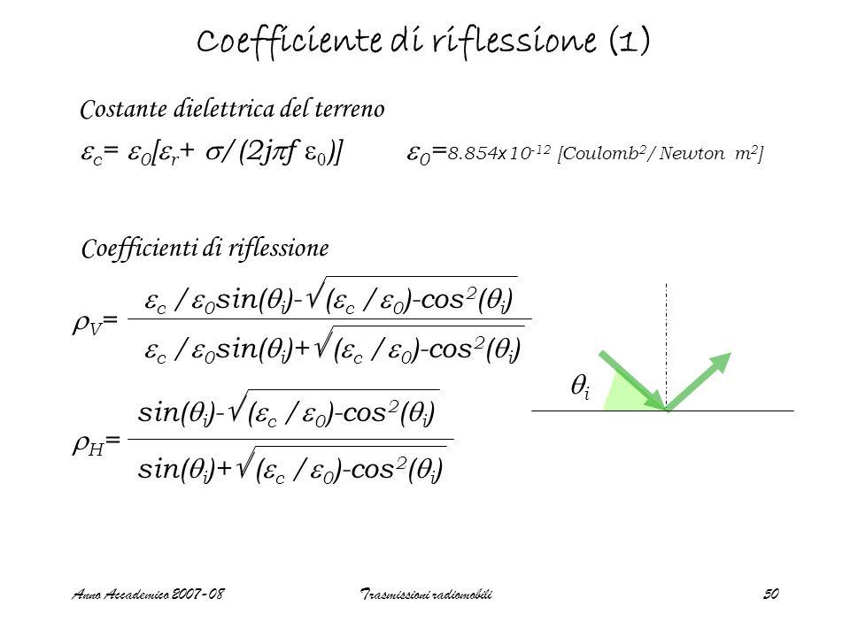 Anno Accademico 2007-08Trasmissioni radiomobili50 Coefficiente di riflessione (1) c = 0 [ r + /(2j f 0 )] Costante dielettrica del terreno V = c / 0 s