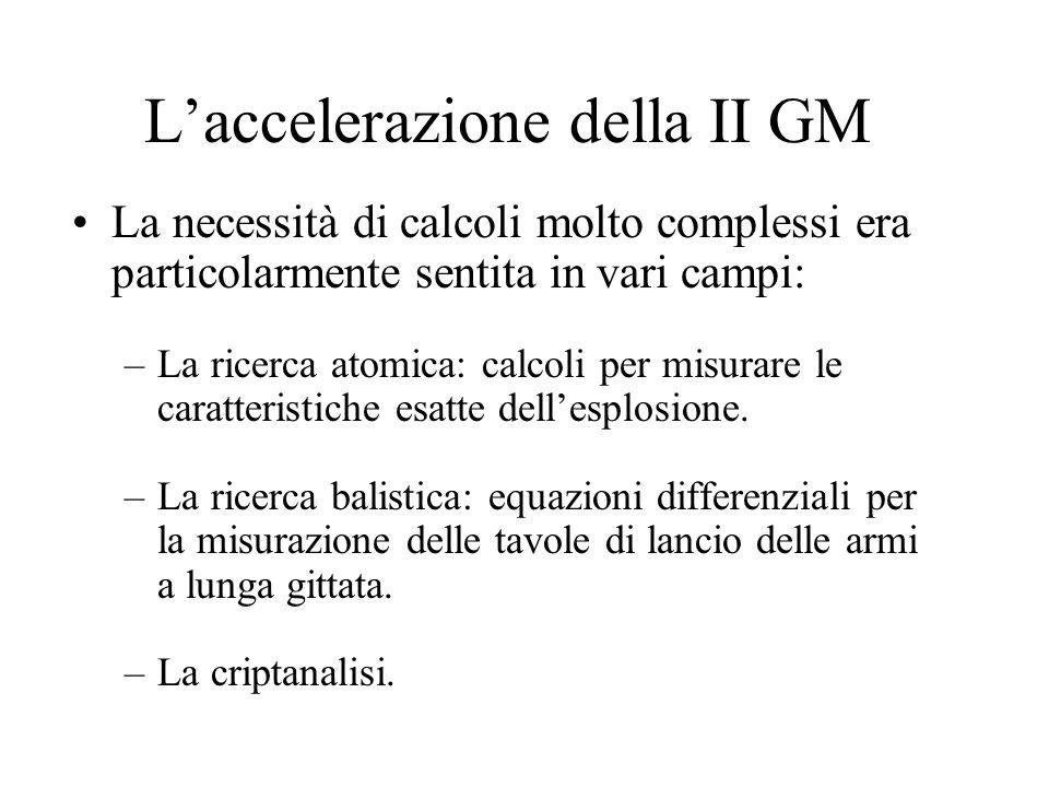 Laccelerazione della II GM La necessità di calcoli molto complessi era particolarmente sentita in vari campi: –La ricerca atomica: calcoli per misurare le caratteristiche esatte dellesplosione.