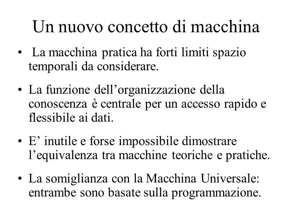 Un nuovo concetto di macchina La macchina pratica ha forti limiti spazio temporali da considerare.