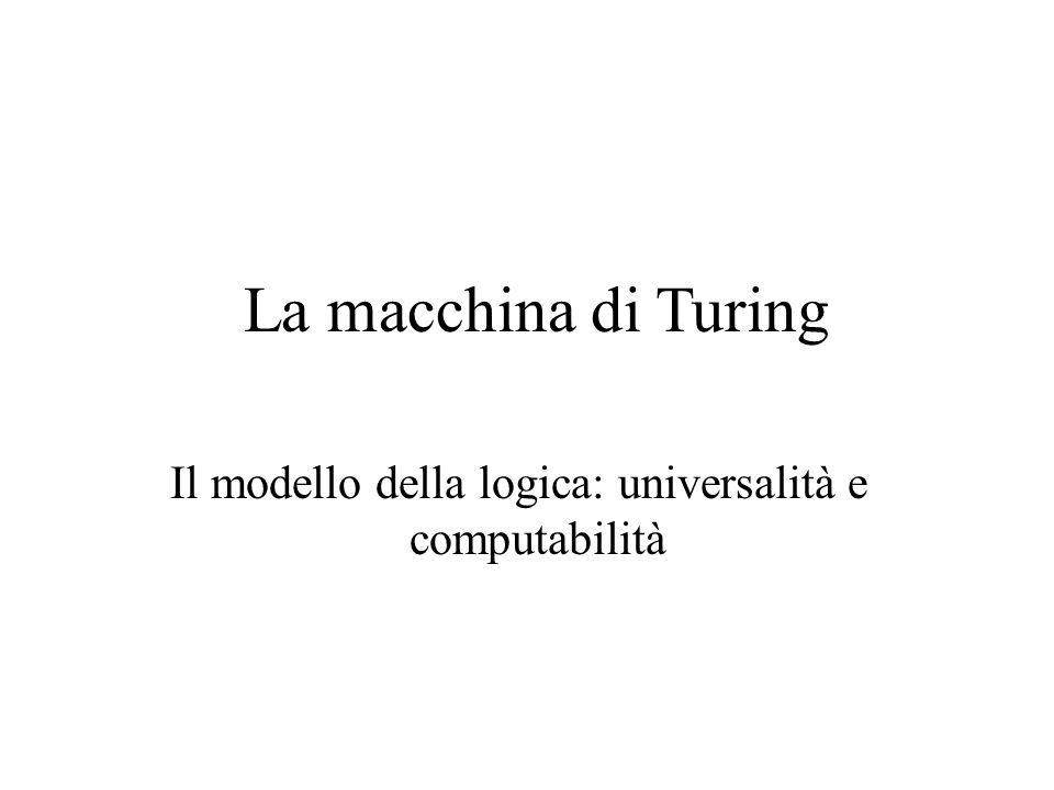 La macchina di Turing Il modello della logica: universalità e computabilità