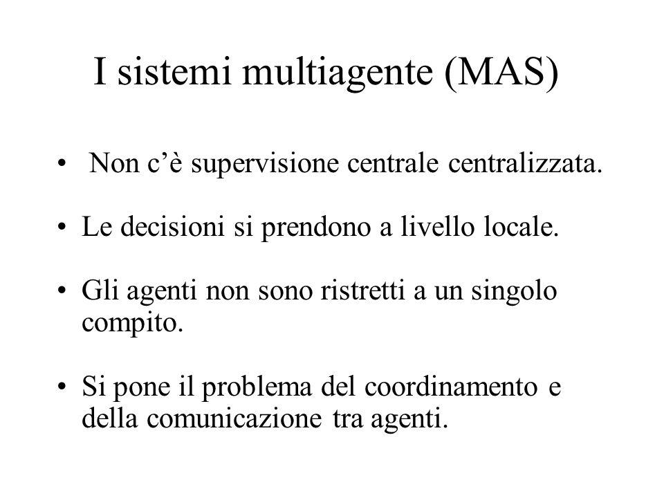 I sistemi multiagente (MAS) Non cè supervisione centrale centralizzata.