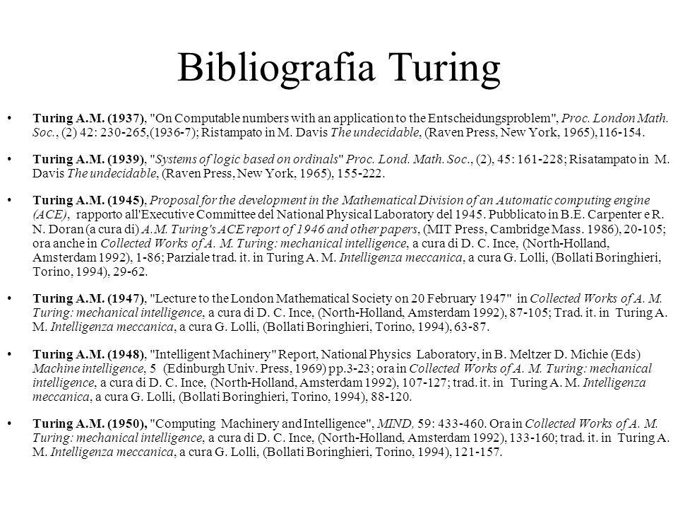 Bibliografia Turing Turing A.M.
