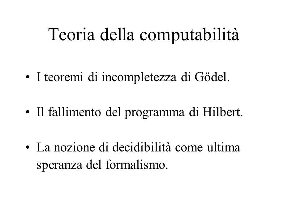 Teoria della computabilità I teoremi di incompletezza di Gödel.