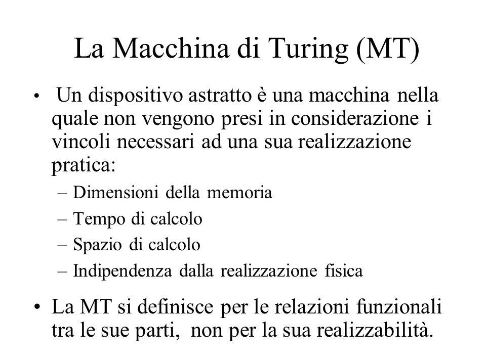 La Macchina di Turing (MT) Un dispositivo astratto è una macchina nella quale non vengono presi in considerazione i vincoli necessari ad una sua realizzazione pratica: –Dimensioni della memoria –Tempo di calcolo –Spazio di calcolo –Indipendenza dalla realizzazione fisica La MT si definisce per le relazioni funzionali tra le sue parti, non per la sua realizzabilità.