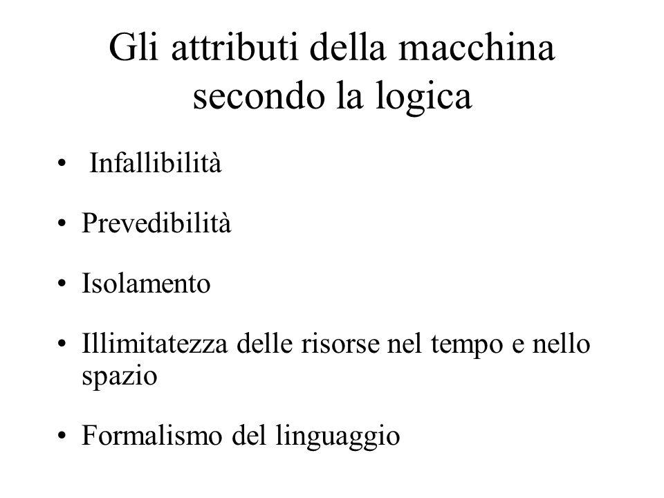 Gli attributi della macchina secondo la logica Infallibilità Prevedibilità Isolamento Illimitatezza delle risorse nel tempo e nello spazio Formalismo del linguaggio