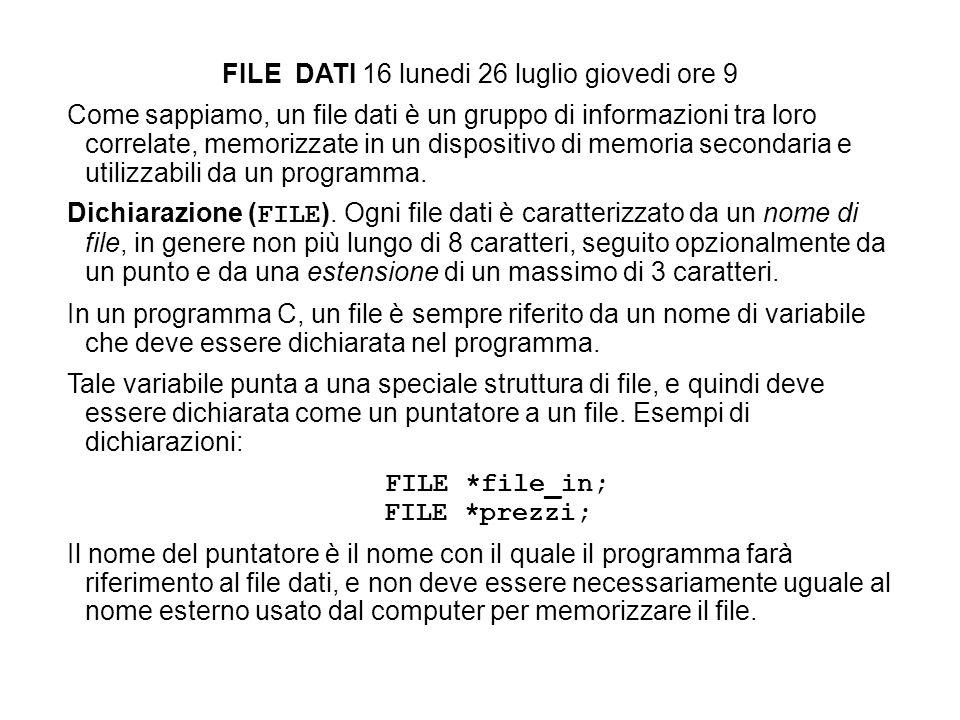 FILE DATI 16 lunedi 26 luglio giovedi ore 9 Come sappiamo, un file dati è un gruppo di informazioni tra loro correlate, memorizzate in un dispositivo di memoria secondaria e utilizzabili da un programma.