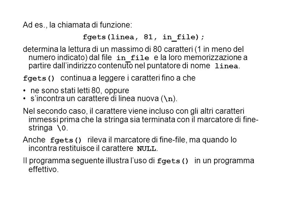 Ad es., la chiamata di funzione: fgets(linea, 81, in_file); determina la lettura di un massimo di 80 caratteri (1 in meno del numero indicato) dal file in_file e la loro memorizzazione a partire dallindirizzo contenuto nel puntatore di nome linea.