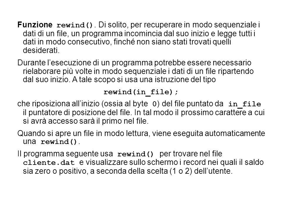 Funzione rewind().
