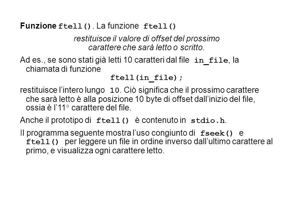 Funzione ftell().