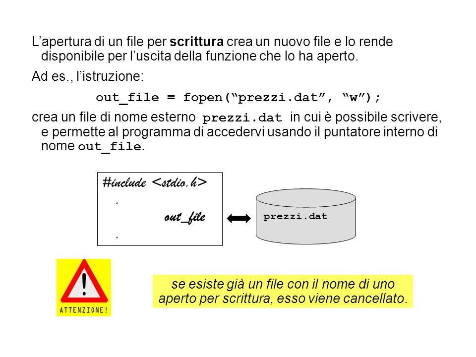 Lapertura di un file per scrittura crea un nuovo file e lo rende disponibile per luscita della funzione che lo ha aperto.