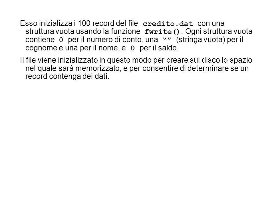 Esso inizializza i 100 record del file credito.dat con una struttura vuota usando la funzione fwrite().
