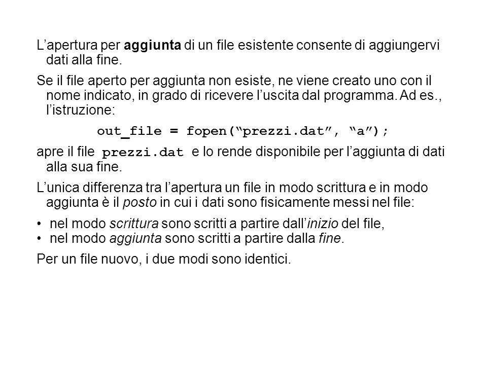 Lapertura per aggiunta di un file esistente consente di aggiungervi dati alla fine.