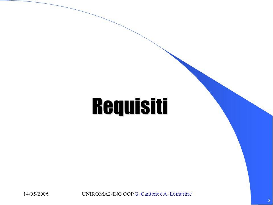 2 14/05/2006UNIROMA2-ING OOP G. Cantone e A. Lomartire Requisiti