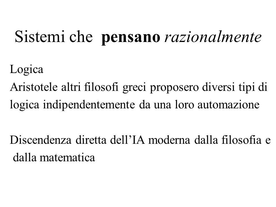 Sistemi che pensano razionalmente Logica Aristotele altri filosofi greci proposero diversi tipi di logica indipendentemente da una loro automazione Discendenza diretta dellIA moderna dalla filosofia e dalla matematica