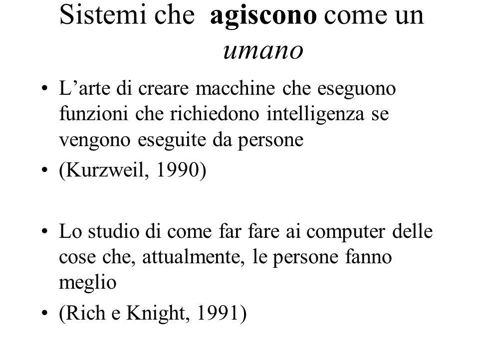 Sistemi che agiscono come un umano Larte di creare macchine che eseguono funzioni che richiedono intelligenza se vengono eseguite da persone (Kurzweil, 1990) Lo studio di come far fare ai computer delle cose che, attualmente, le persone fanno meglio (Rich e Knight, 1991)