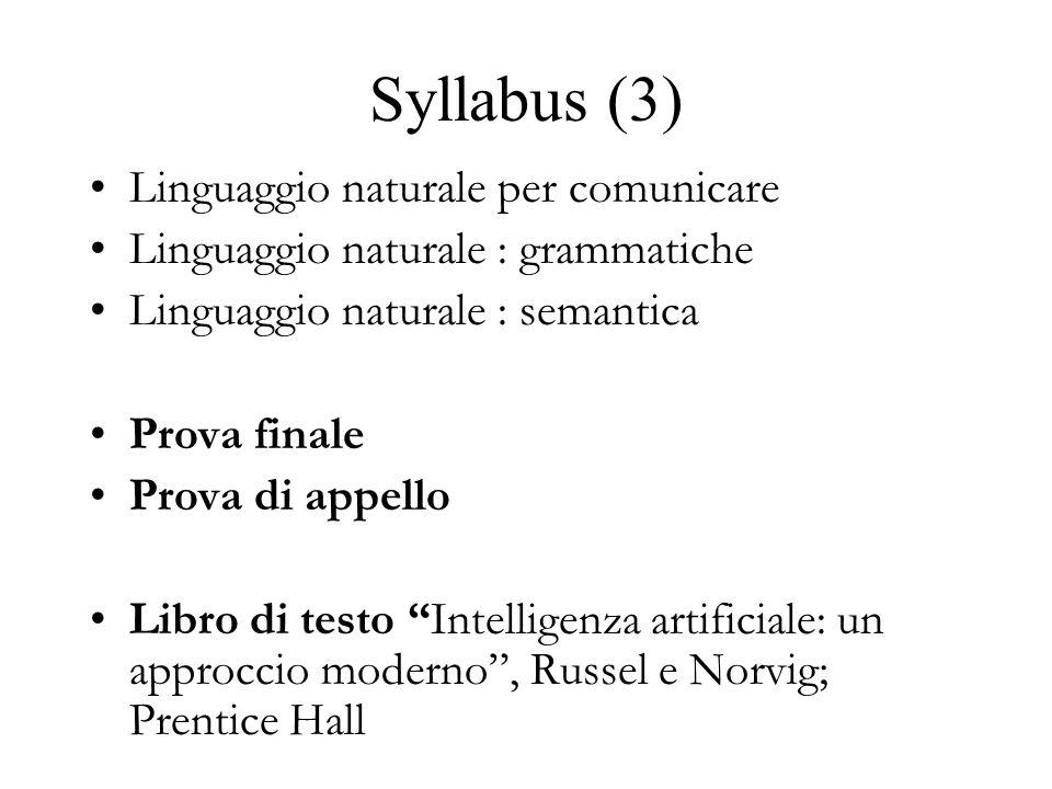 Syllabus (3) Linguaggio naturale per comunicare Linguaggio naturale : grammatiche Linguaggio naturale : semantica Prova finale Prova di appello Libro di testo Intelligenza artificiale: un approccio moderno, Russel e Norvig; Prentice Hall
