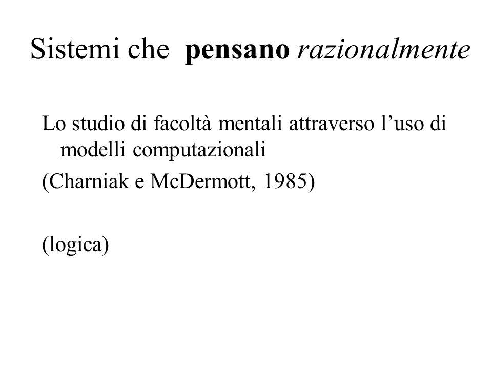 Sistemi che pensano razionalmente Lo studio di facoltà mentali attraverso luso di modelli computazionali (Charniak e McDermott, 1985) (logica)