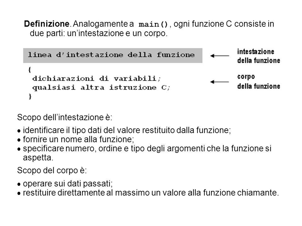 Definizione. Analogamente a main(), ogni funzione C consiste in due parti: unintestazione e un corpo. Scopo dellintestazione è: identificare il tipo d