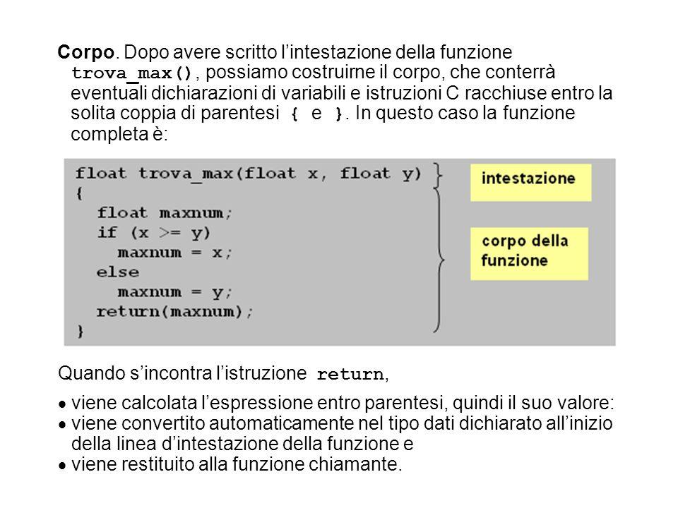 Corpo. Dopo avere scritto lintestazione della funzione trova_max(), possiamo costruirne il corpo, che conterrà eventuali dichiarazioni di variabili e
