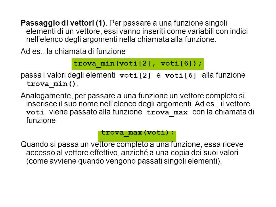 Passaggio di vettori (1). Per passare a una funzione singoli elementi di un vettore, essi vanno inseriti come variabili con indici nellelenco degli ar