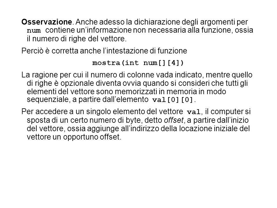 Osservazione. Anche adesso la dichiarazione degli argomenti per num contiene uninformazione non necessaria alla funzione, ossia il numero di righe del