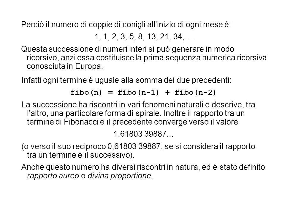 Perciò il numero di coppie di conigli allinizio di ogni mese è: 1, 1, 2, 3, 5, 8, 13, 21, 34,... Questa successione di numeri interi si può generare i